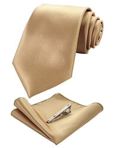 JEMYGINS Gold Krawatten und Einstecktuch Set für Herren seide Krawatte krawattenklammer Seidenkrawatten Hochzeit Schlips (11)