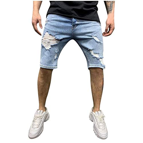 ELECTRI Short en Jean Pantalon Court Denim pour Homme Extensible Coupe Regular Shorts en Jeans Homme Casual Denim Pantalon Court Jeans Bermuda Déchiré Outdoor Cargo Pants avec Poches