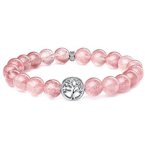 J.Endéar Beaded Bracelets for Womens, 8mm Natural Gemstone Bracelet, Tree of Life...