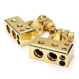 N\A Ventana de Coche botón del Interruptor de relé Negativo Positivo batería de Coche Auto Terminal 2 PC Platinum Interruptor Automotive Ventana de Control (Color : Gold)