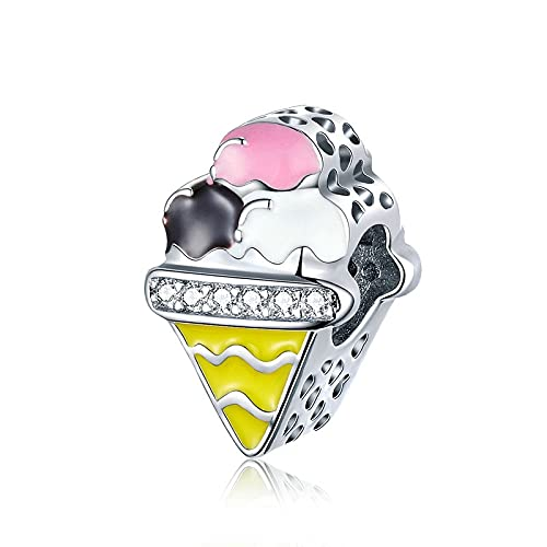 925 Sterling Silver Beads Ice Cream Colorful Charms Fit Original Bracelet Pendant Beads