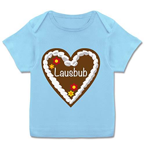Oktoberfest Baby - Lebkuchenherz Lausbub - 56-62 - Babyblau - Jungs Baby Kleidung - E110B - Kurzarm Baby-Shirt für Jungen und Mädchen