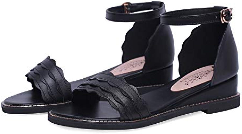 MENGLTX High Heels Sandalen 2019 Echtes Leder Schuhe Frauen Sandalen Knchel Schnalle Sommer Schuhe Einfache Bequeme Freizeitschuhe Frau Keile Schuhe