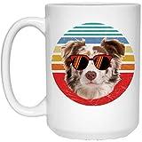 N\A Divertido Border Collie White Tri Color Dog Sunset Retro Taza de café