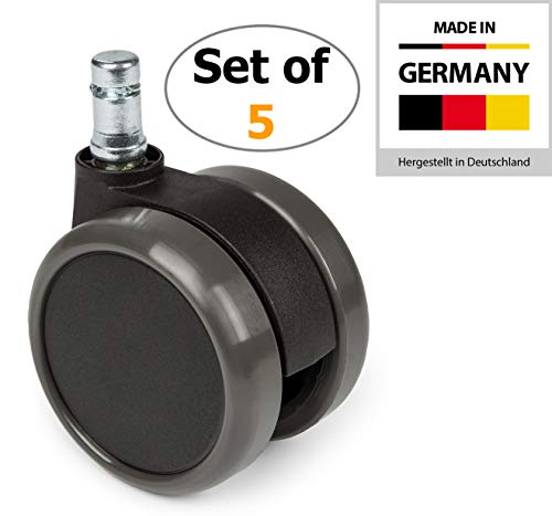 hjh OFFICE 2,5 inch Office Chair Caster Wheels 7/16 inch Stem Diameter, Casters for Hard Floors (Set of 5)