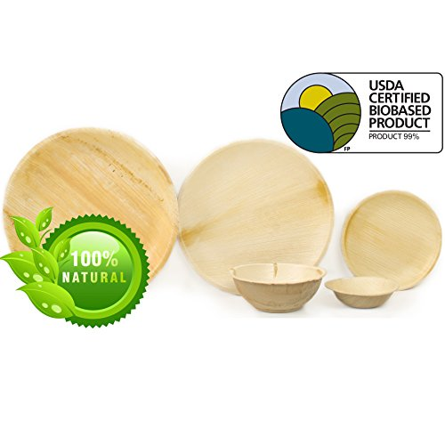 """Leaf & Fiber 25 Count, Sustainable and All Natural Palm Leaf Dinnerware, 9"""", Brown"""