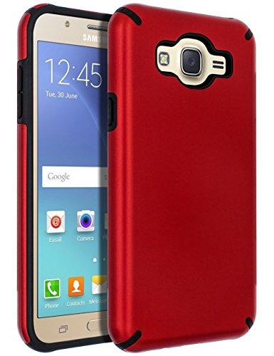 SENON Galaxy J7 (2015) Case,Galaxy J7 Case, Slim-fit Shockproof Anti-Scratch Anti-Fingerprint Protective Case Cover for Samsung Galaxy J7 Neo J700,Red