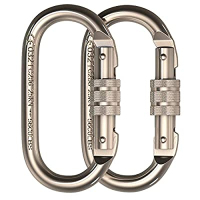 O-Shape Steel Carabiner (25kn=5600lb) Screw Lock Spring Gate Protection,CE Rated Heavy Duty Carabiners For Rock Climbing Rappelling Hiking Ropes Camping Rigging & Anchoring (O Shape Chrome, 2 Pack)