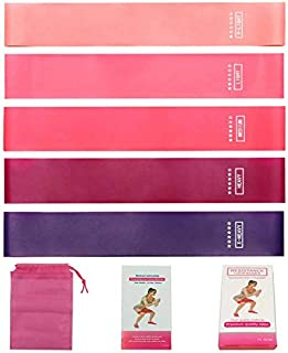 Set of 5 Resistance Loop Bands, Pink Color Gradient Yoga Tension Rings Exercise Gym Sports Elastic Bands Fitness Resistanc...