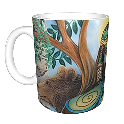 jianpanxia The Star Tarot Card Bhutan Mug–Keramik-Kaffeetasse, verwendet für Latte oder Kakao, Cappuccino, heißen Tee oder Eisgetränk, große Caity-Teetasse, weiß