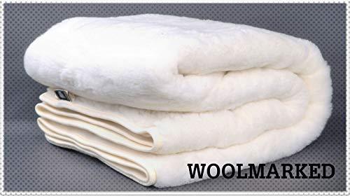 Merino Wool Ropa de cama de lujo suave de cashmee debajo de la manta, fundas de lana, tamaño King Size 160 x 200 cm, WOOLMARK NATURAL & Quality Product