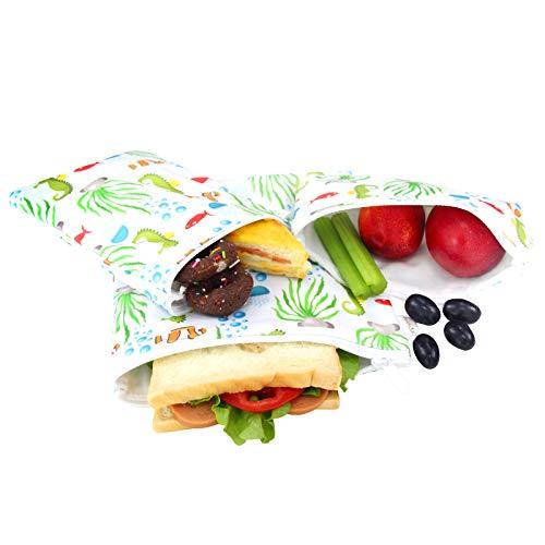 Langsprit Premium wiederverwendbare Sandwich- und Snackbeutel, umweltfreundlich, spülmaschinenfest, 3 Stück Seepferdchen