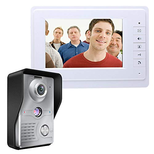 Kit de Campanello Intelligente para Videoportero WiFi Inalámbrico Intercomunicador con Video Timbre de 7 pulgadas TFT Botón Táctil Pantalla HD Gran Angular Visión Nocturna Monitor Infrarrojo Cámara