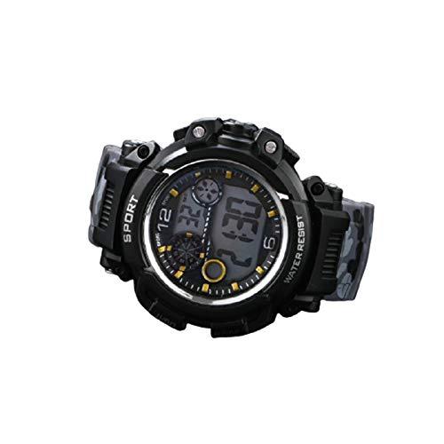 Wasserdichte Herren-Armbanduhr, LED-Digital-Sportuhr, leuchtet im Dunkeln, rundes Zifferblatt, Armbanduhr für lässige tägliche Kinder.