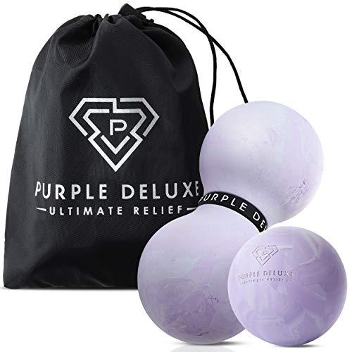 Purple Deluxe Premium Duoball Massage Set - Faszien + Lacrosse Massageball für die ultimative Muskel Entspannung, Selbstmassage, Faszientraining + Triggerpunkt Therapie