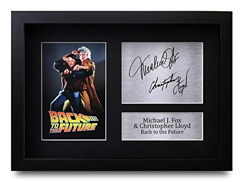 HWC Trading Back to The Future A4 Gerahmte Signiert Gedruckt Autogramme Bild Druck-Fotoanzeige Geschenk Für Michael J Fox Christopher Lloyd Filmfans