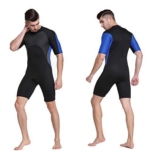 HUOFEIKE Neopren-Neoprenanzug für Herren, Herren Surf Suit 2mm Tauchanzug Jacke Lange Ärmel Zurück Reißverschluss Tauchen Kurzes Anzugshemd Tauchen Schnorcheln,XL