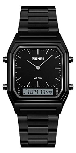 Unisex Wrist Watch, Waterproof Military Analog Digital Watches with LED Multi Time Chronograph, Stainless Steel Business Watches for Men (Full Black)