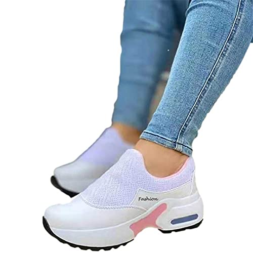Fmkaieo Cómodas zapatillas deportivas casuales de mujer, zapatillas con cuña para mujer, zapatillas deportivas de fitness, zapatillas ligeras, informales, fitness Gym, soporte para arco, blanco, 38