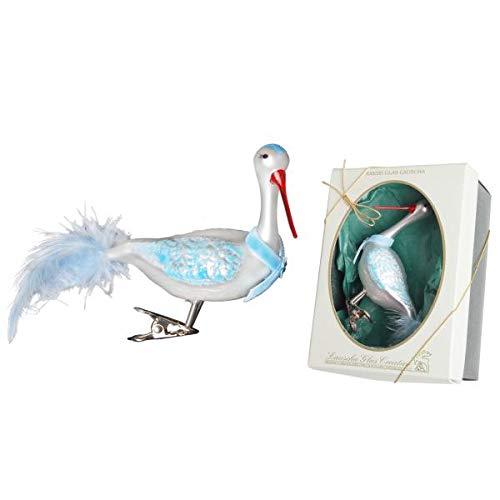 Storch blau/weiß aus mundgeblasenem Glas mit Blauer Schleife auf Clip, handdekoriert mit echten Federn, 10 cm