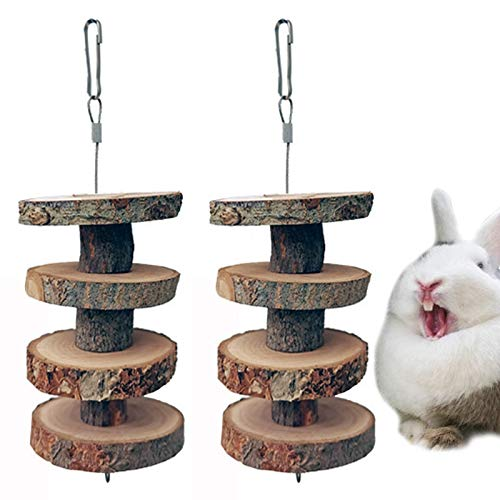 NAMIS Giocattoli da Masticare per Conigli, 2pcs Bastoncini di Mela per Conigli, Naturali Bastoncini da Masticare, Giocattoli per La Cura dei Denti per Piccoli Animali per criceti, Conigli, cincillà