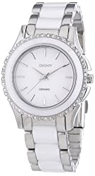 DKNY White Dial Stainless Steel White Ceramic Ladies Watch NY8818