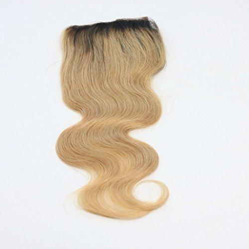 100 % cheveux humains vierges, texture ondulée, dentelle suisse, fermeture sur le dessus, 10,2 x 10,2 cm, raie libre avec nœuds blanchis, couleur 1B/b