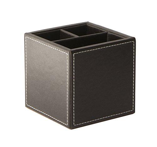 Osco - Portapenne da scrivania in finta pelle, quadrato, colore: Marrone