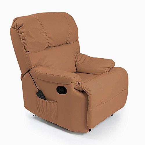 Cecotec Sillón Relax de Masaje Camel. Función Calor, programas, 10 intensidades, 8 Motores, Mando de Control con Temporizador, Bolsillo portaobjetos, Polipiel