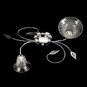 Plafón de cromo de 2 luces con taza de cristal de Murano transparente