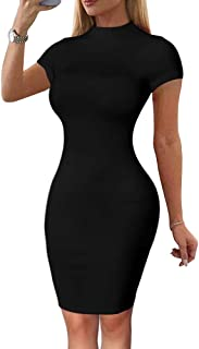 Women's Sexy Summer Bodycon Short Sleeve Mock Neck Pencil Midi Club Dress