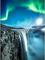 番号セットによる5Dダイヤモンド絵画DIY大人のラウンドダイヤモンドセットアートデコレーション子供ギフト壮大な滝