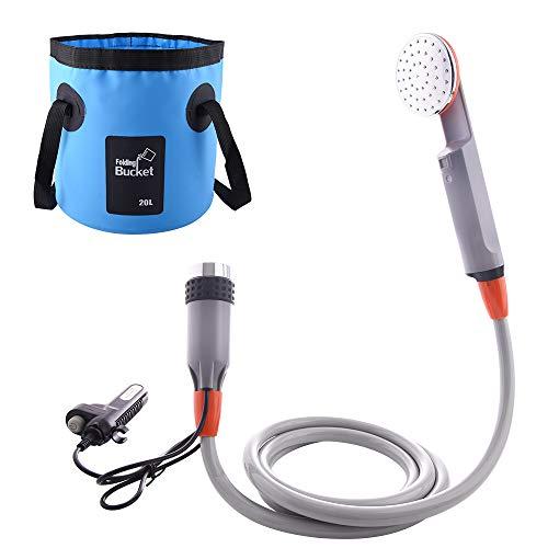 WOLFWILL - Bomba de ducha portátil para camping con dos baterías USB extraíbles, dos cabezales de repuesto para bidé de agua, Ducha 1