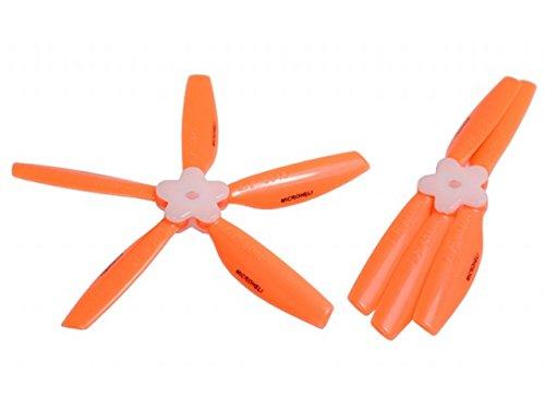Microheli Plastic Folding 5-Blade Propeller 5045 CW/CCW w/Bracket (ORANGE)