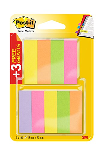 Post-It Page 670-6 Lot de 3 blocs de 6 x 100 feuilles Rose/vert fluo/jaune fluo/orange fluo/violet fluo
