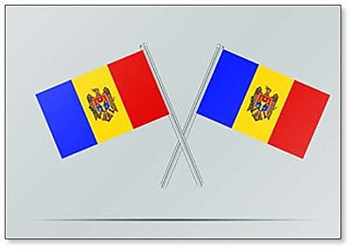Moldavië Nationale Vlag op Twee Vlaggenmasten Koelkast Magneet