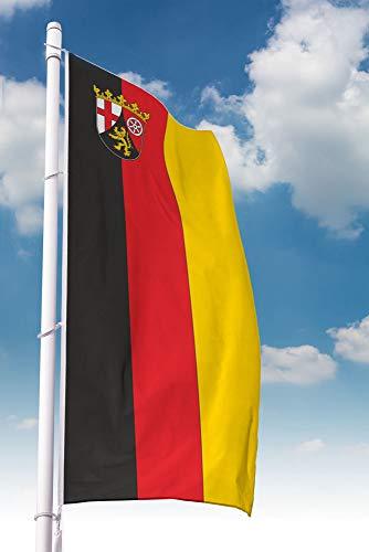 Deitert Rheinland-Pfalz-Fahne-Ausleger Hochformat mit Wappen 150x600cm