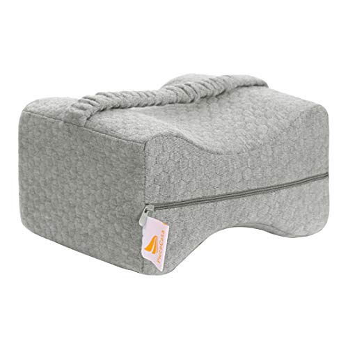 PiccoCasa Comfort Pure Memory Foam Knee Pillow for Side Sleepers, Leg Pillow for Sleeping, Back Pain, Leg Pain, Hip Pain with Elastic Strap Cover and Bag + Extra Pillow Cover Gray