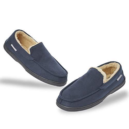 Dunlop Zapatillas Casa Hombre   Pantuflas Estilo Mocasines Cerradas   Zapatillas de Casa Invierno Calientes Suela de Goma Dura   Regalos Originales para Hombre (46 EU, Azul)