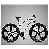 マウンテンバ大人用ハードテールマウンテンバイク26インチファットタイヤ 男性 女性 高炭素鋼 オールテレーンマウンテントレイル自転車 調整可能なシート デュアルディスクブレーキ フロントサスペンション,5 spoke white,24 Speed