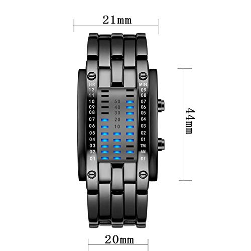 M3M Binario Creativo LED Azul Reloj de Pareja 30 Metros Diario Impermeable precisión Hora visualización Calendario Titanio Hebilla de aleación de Acero Inoxidable Reloj electrónico