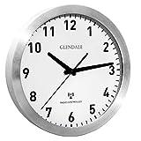 GLENDALE Wanduhr funkgesteuert (Silber Aluminium) 30cm Funkuhr-lautlos-ohne Ticken-schleichende...