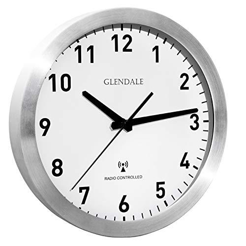 GLENDALE Wanduhr funkgesteuert (Silber Aluminium) 30cm Funkuhr-lautlos-ohne Ticken-schleichende Sekunde-Silent Sweep Uhrwerk-geräuschlos