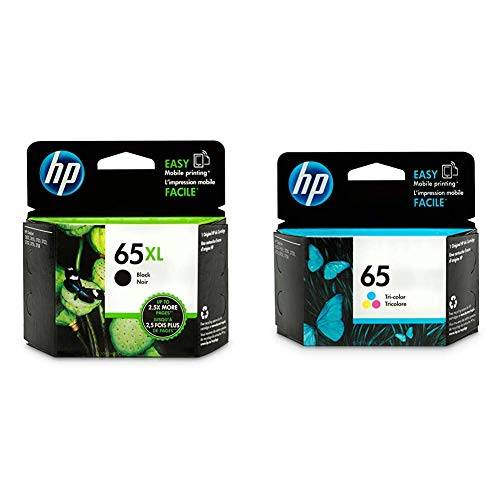 HP 65XL | Ink Cartridge | Black | N9K04AN & 65 | Ink Cartridge | Tri-Color | N9K01AN