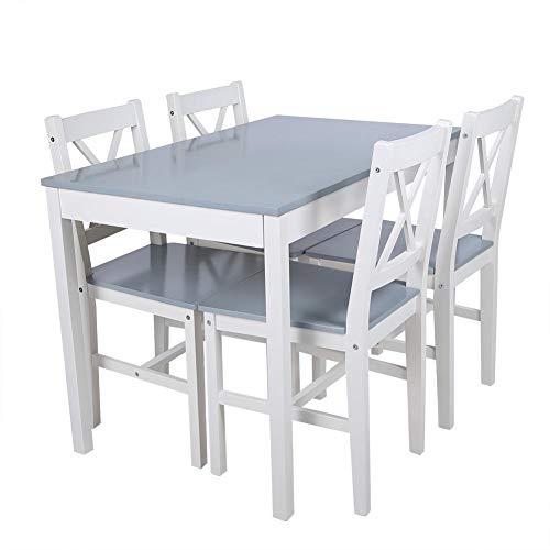Greensen Essgruppe mit Esstisch und 4 Essstühlen Esszimmergruppe Holz Tischgruppe Esszimmertisch Küchentisch Stilvoller Esstisch Stühle für Küche Wohnzimmer Hause, (Bläulich Grau)