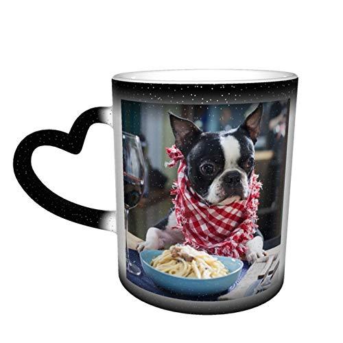 Taza de café mágica que cambia la taza, linda Boston Terrier personalizada de impresión de cerámica sensible al calor para regalo regalo regalo té café