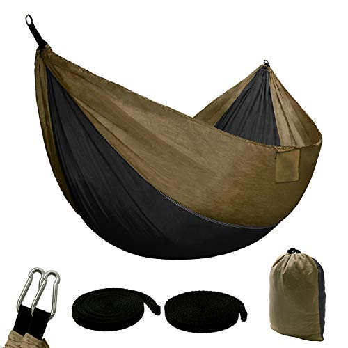Hammock Single Double Portable Lightweight with 660lbs Load Capacity,2 Person Hammock with 100% Parachute Nylon,Camping Hammocks for Indoor Outdoor Garden Backpacking Travelling (Black&Light Tan)