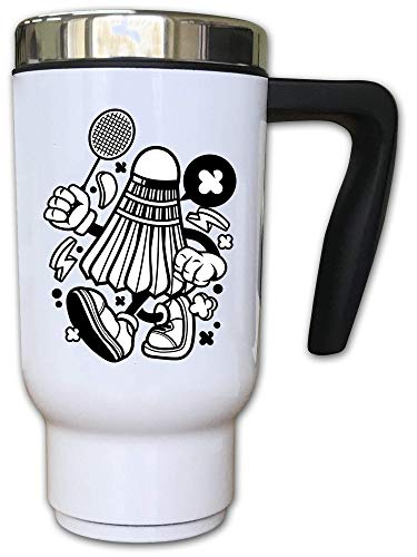 Iprints Cartoon Style Badminton Shuttlecock Logo Thermal Thee Coffee Mok
