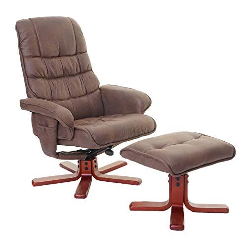 Mendler Relaxsessel HWC-E30, Fernsehsessel Liegesessel TV-Sessel mit Hocker ~ Wildlederimitat braun