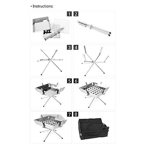 41uwrXKLjQL - BGROESTWB Tragbare Grillzubehör Folding beweglicher Edelstahl-Außen Charcoal BBQ Grill for das Wandern Picknick Camping Für Grillparty (Color : Silver, Size : 36x36x32cm)